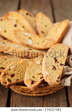 Pumpkin Biscotti with Almonds and Dried Cherries - stock photo