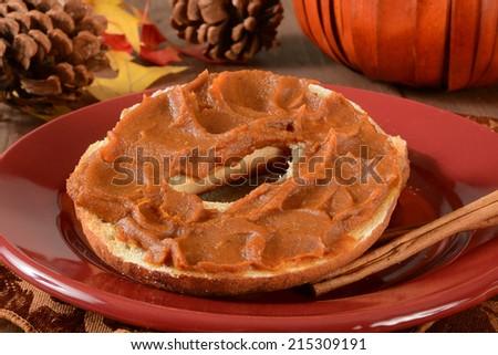 Pumpkin butter spread on a cinnamon bagel with cinnamon sticks - stock photo