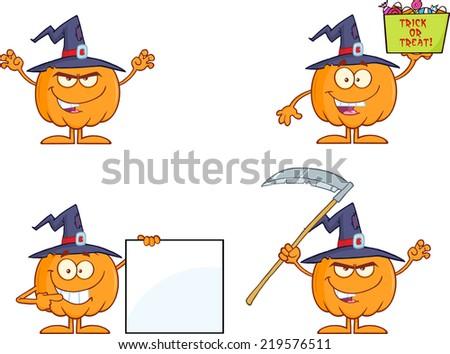 Pumpkin Cartoon Mascot Character Series 5. Raster Collection Set - stock photo