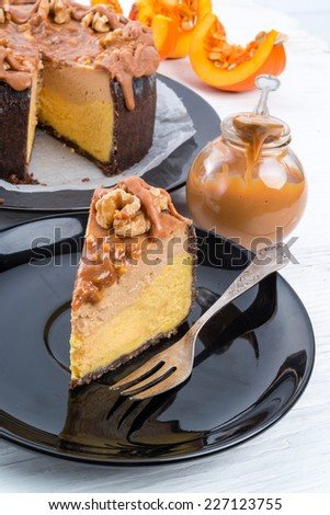 Pumpkin cheesecake with nuts - stock photo