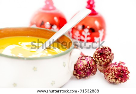 Pumpkin Cream Soup with Christmas decoration