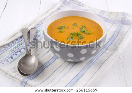 pumpkin cream soup with parsley in a bowl - stock photo