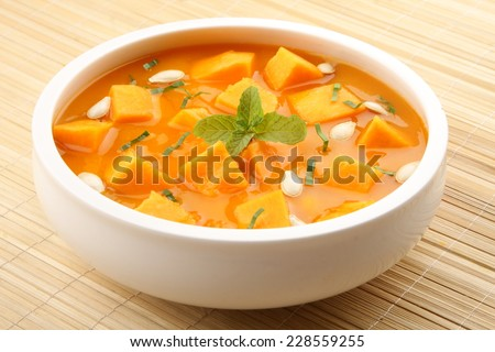 Pumpkin curry sauce. - stock photo