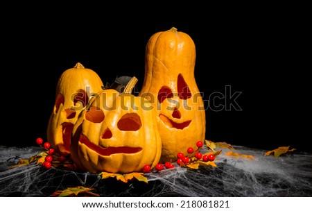 Pumpkin face for halloween - stock photo