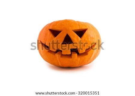 Pumpkin face isolated on white background.
