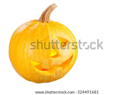 Pumpkin for Halloween isolated on white background - stock photo