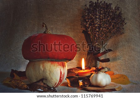 Pumpkin,garlic and candle,nature morte.