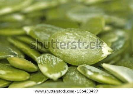 Pumpkin green seeds' kernel, pepita texture - stock photo