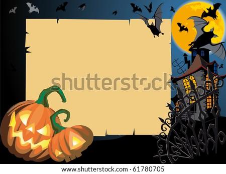 Pumpkin Halloween Card with empty blank scroll. Raster version - stock photo