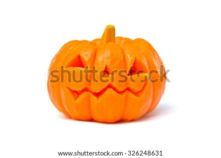Pumpkin halloween day on white background. (Soap carved)