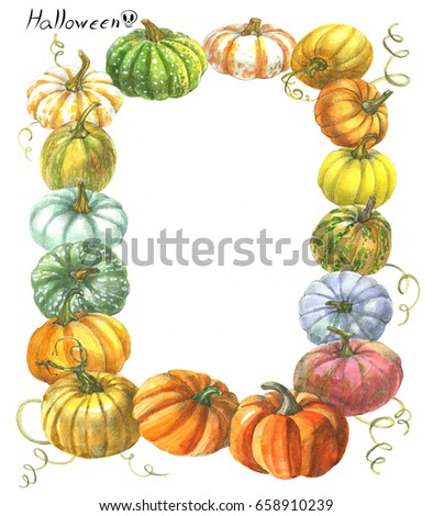 Pumpkin Drawing Watercolor Frame Stock Illustration 590469638 ...