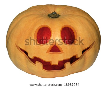 Pumpkin halloween isolated over white. Clipping path. - stock photo
