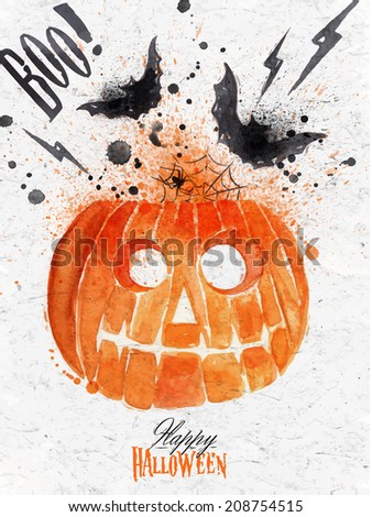 Pumpkin halloween poster with lettering stylized drawing vintage style - stock photo