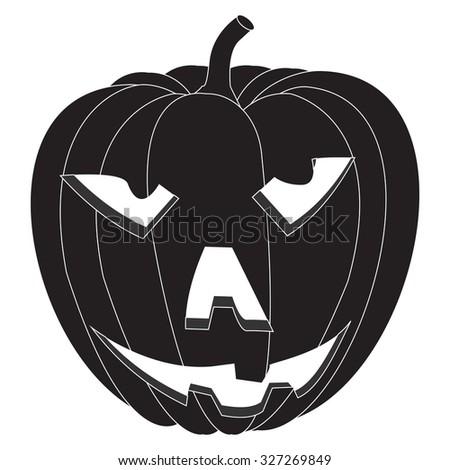 Pumpkin Halloween. Raster version. Illustration isolated on white. - stock photo