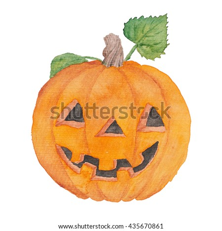 Pumpkin Halloween watercolor Illustration Orange Holidays  - stock photo