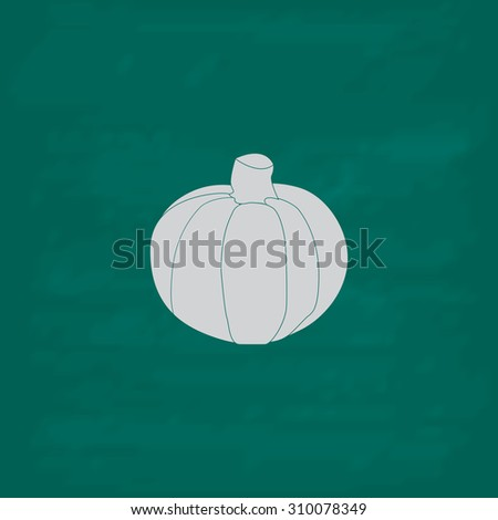 Pumpkin.  Icon. Imitation draw with white chalk on green chalkboard. Flat Pictogram and School board background. Illustration symbol - stock photo