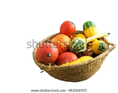 pumpkin in a basket isolated on white background