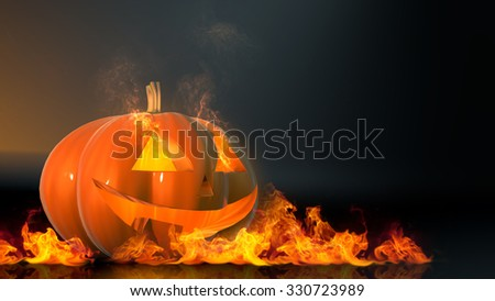 pumpkin in flames on a dark background, 3d illustration - stock photo
