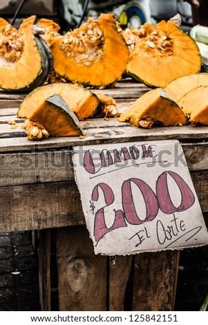 Pumpkin in local Chile market - stock photo