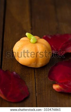 pumpkin made of marzipan - stock photo