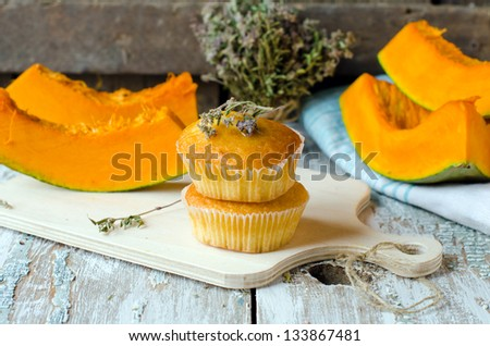 Pumpkin muffins with thyme.Selective focus - stock photo