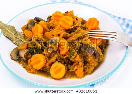 Pumpkin, Mushrooms, Onions and Carrots Stewed Studio Photo