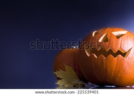 pumpkin on a dark background, halloween concept - stock photo