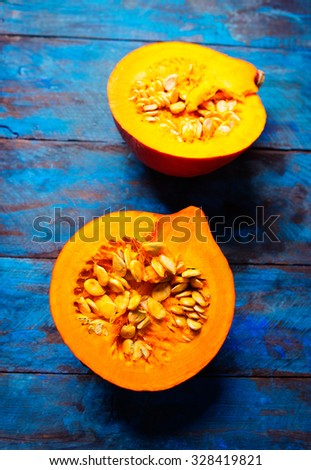 pumpkin on old blue background - stock photo