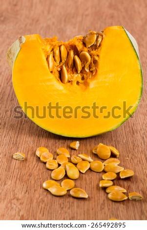 pumpkin on rustic background  - stock photo