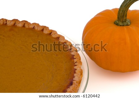 Pumpkin Pie and Pumpkin Isolated on White - stock photo