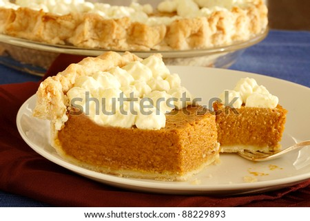 Pumpkin pie dessert for Thanksgiving - stock photo