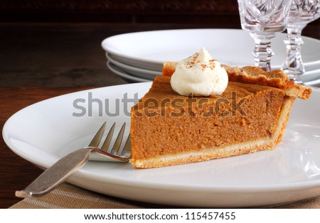Pumpkin pie dessert for Thanksgiving or Christmas - stock photo