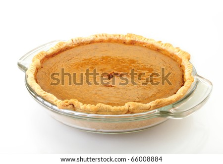 Pumpkin Pie isolated on white background with reflection - stock photo
