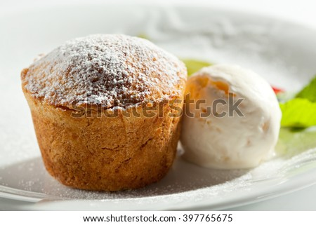 Pumpkin Pie with Ice Cream and Mint - stock photo