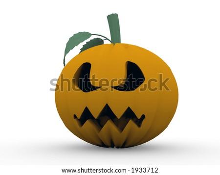Pumpkin rendered on white - stock photo