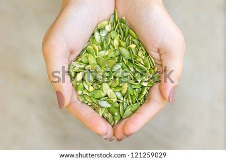 Pumpkin seeds' kernel in woman hands - stock photo