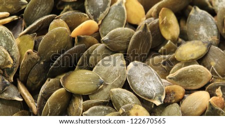 Pumpkin seeds very close up - stock photo