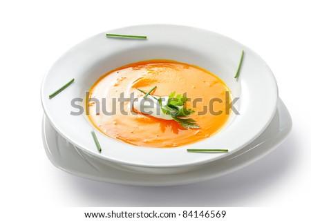 Pumpkin soup - stock photo