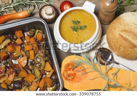 Pumpkin soup and vegetable stew with home made bread