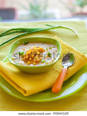 Pumpkin soup from carrots, potatoes and pumpkin decorated with onion - stock photo