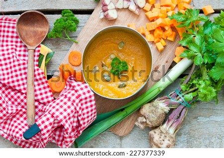 Pumpkin soup/healthy food - stock photo
