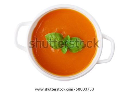 pumpkin soup isolated - stock photo