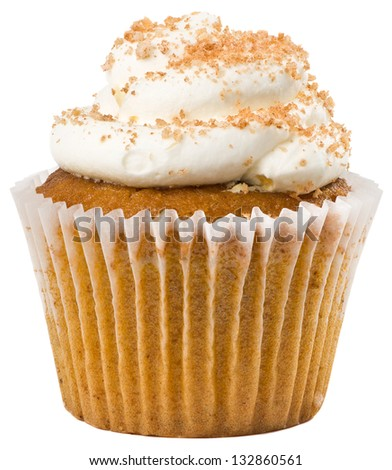 Pumpkin Spice Cupcake with White Frosting Isolated - stock photo