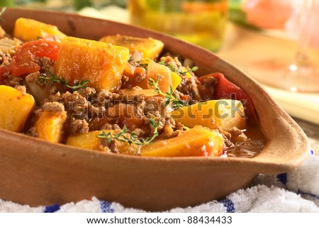 Pumpkin, tomato, mincemeat dish with fresh thyme (Selective Focus, Focus on the pumpkin piece on the top of the meal) - stock photo