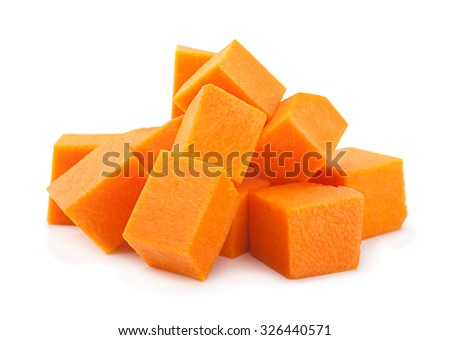 Pumpkin vegetable cube slice isolated on white