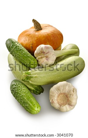 Pumpkin, vegetable marrows, cucumbers, garlic-young ripe vegetables - stock photo