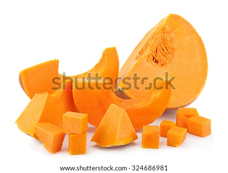 Pumpkin vegetable part isolated on white background - stock photo