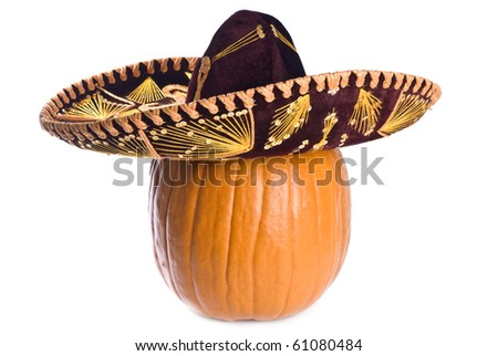 Pumpkin Wearing a Sombrero Isolated on White - stock photo