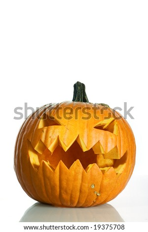 Pumpkin with halloween phrases on white background - stock photo
