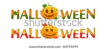 pumpkin with halloween text isolated on white background - stock photo